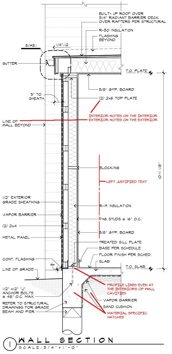 Architectural Graphics Standards - Wall Section with redlines - construction timeline