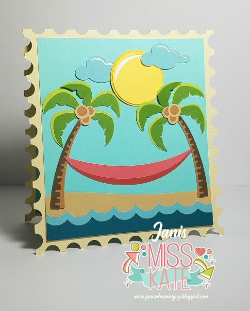 Tropical Paradise and Beach Scene Stamp from Miss Kate Cuttables