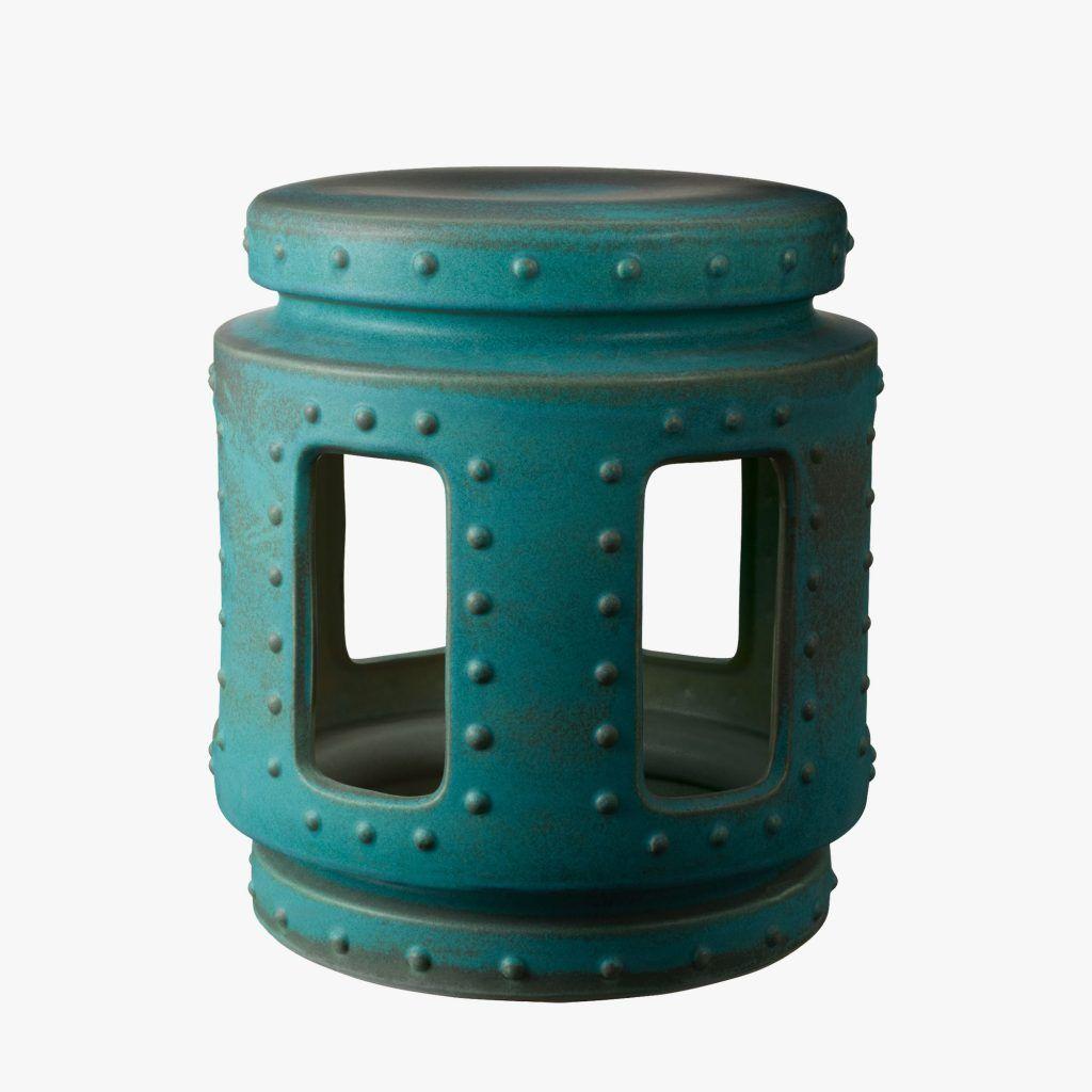 Ming Garden Stool In Oxidized Copper