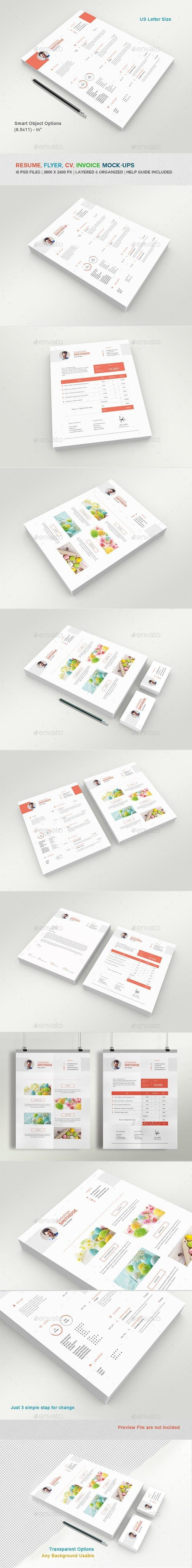 Resume Flyer Invoice And Letterhead Mockups template