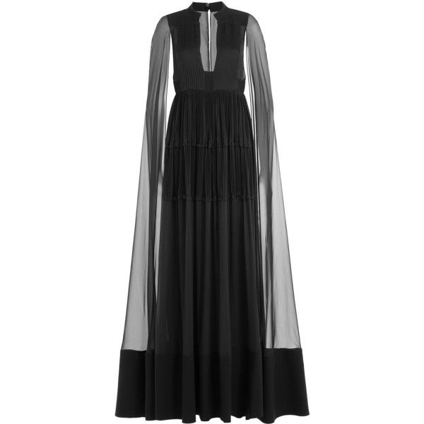 Valentino Floor Length Silk Gown (36.715 BRL) ❤ liked on Polyvore featuring dresses, gowns, long dresses, valentino, black, slimming dresses, long silk dress, floor length evening gown, silk evening gowns and floor length gowns