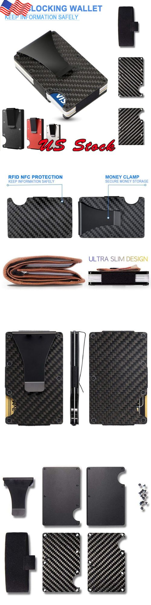 aca1631d740 Mens Accessories 4250  Slim Carbon Fiber Id Credit Card Holder Blocking  Metal Wallet Money Clip Purse -  BUY IT NOW ONLY   10.49 on  eBay   accessories ...