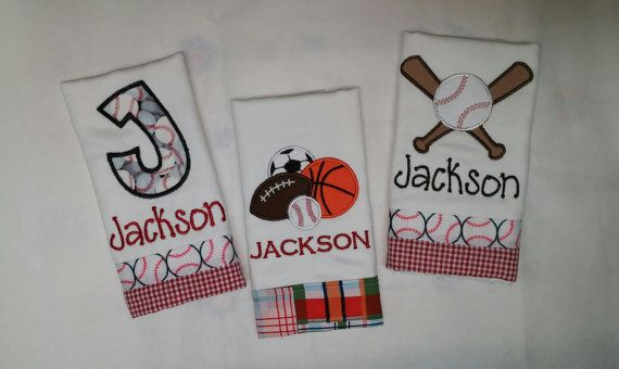 Set of 3 Boys Personalized Burp Cloths by JassyThreads1 on Etsy