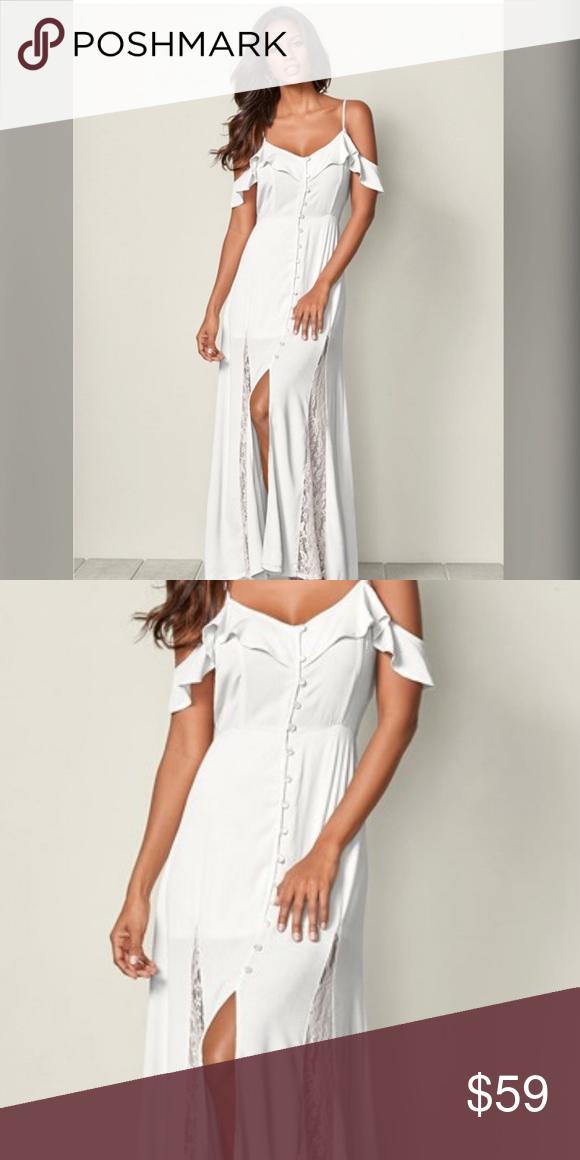 62435e6fda8 White cold shoulder lace wedding boho maxi dress s Cold shoulder maxi dress  🌹Size small 🌹white 🌹Lace inlets VENUS Dresses Maxi