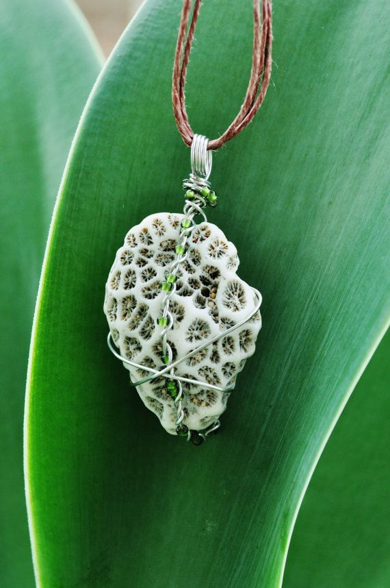 Photo of Items similar to hawaii ocean coral pendant, wire wrapped with green beads on Etsy