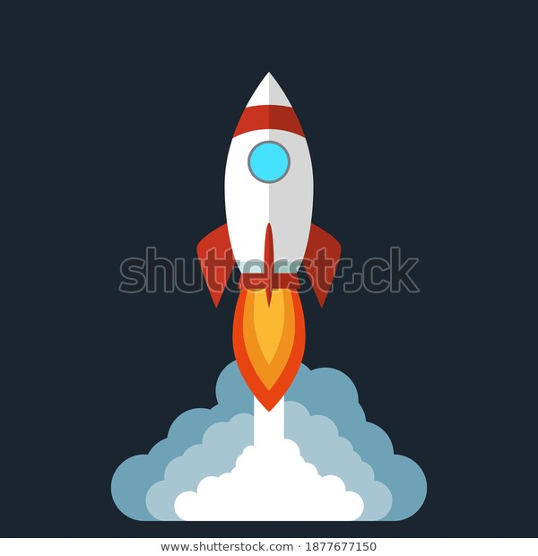Rocket Launches Space Emits Smoke Isolated Stock Vector Royalty Free 1877677150 Smoke Vector Stock Vector Vector