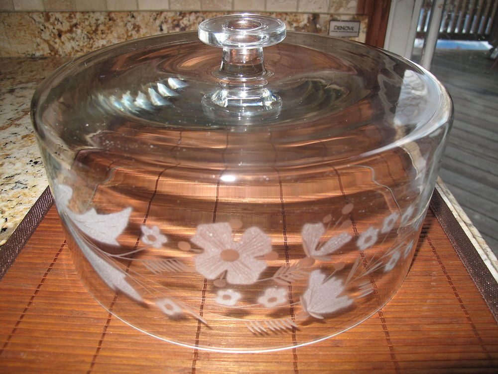 Etched elegant glass cake stand dome cover only 10 cake