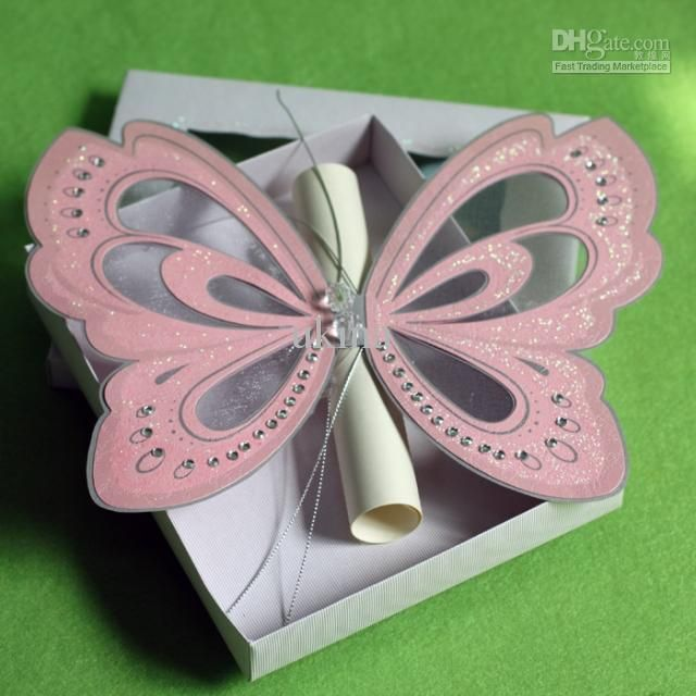 Creative Handmade Pink Elegant Butterfly Wedding Invitations with ...
