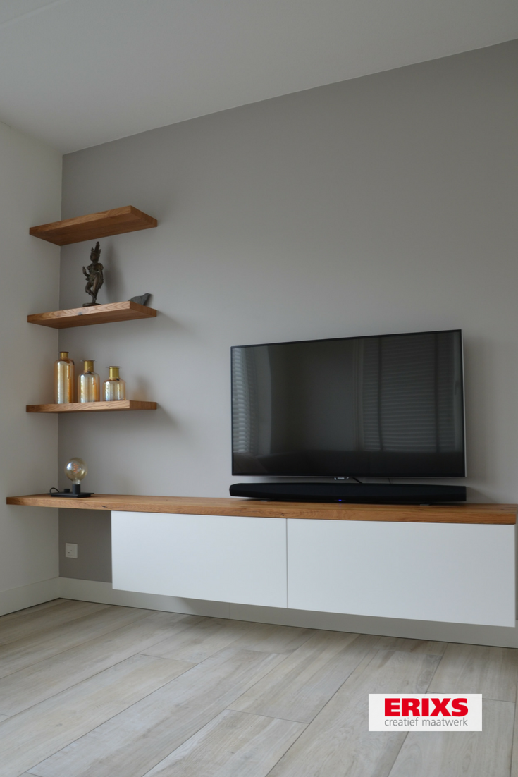 Primo Tv Meubel.Tv Meubel Wit Afgewerkt Met Eiken Fineer Planken Stue