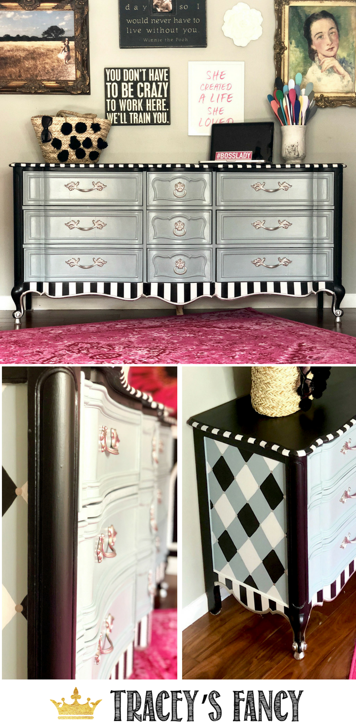 Whimsy Furniture Throughout Elegant Whimsical Dresser By Traceys Fancy Black And White Stripes Gray Painted Furniture Fun Makeover Pinterest Painted