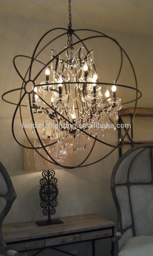 Foucault S Iron Orb Crystal Chandelier Small Rustic