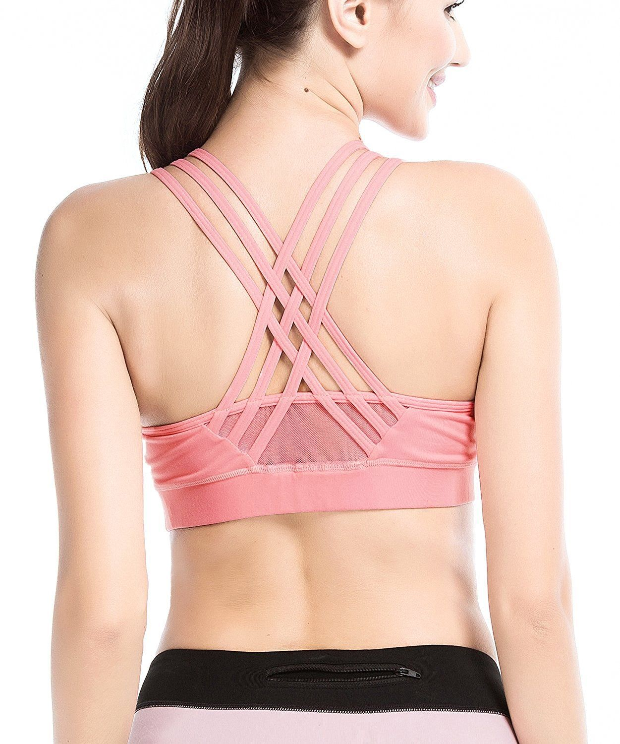 e3c16c69c6b10 YIANNA Womens Sports Bra Padded Medium Support Cross Back Strappy Wirefree  Running Yoga Bra TopsYABRA145PinkS   Want to know more