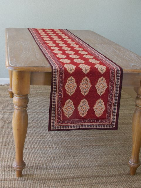 Red Orange Table Runner Moroccan Indian Table Runner Holiday