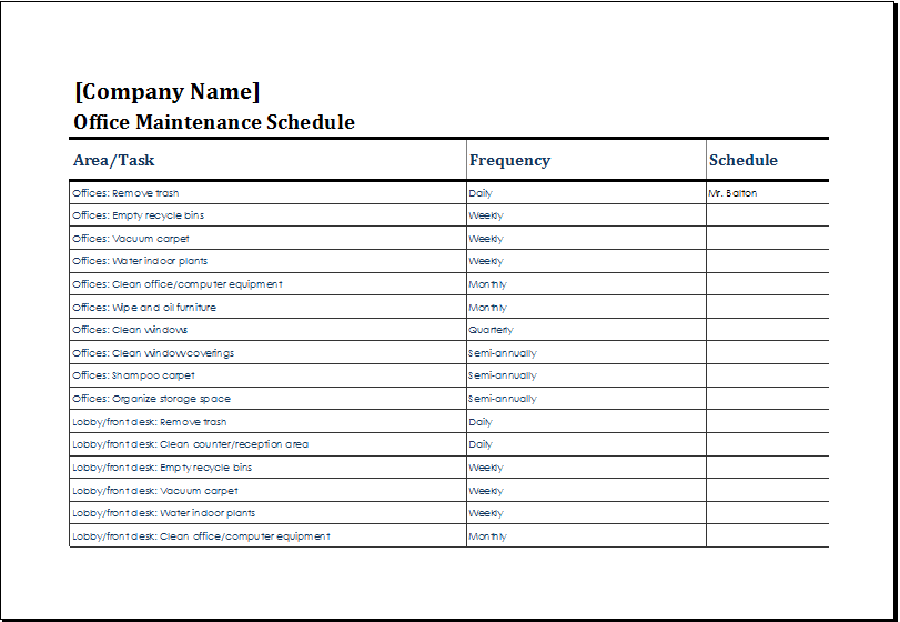 Office Maintenance Schedule Template At HttpWwwXltemplatesOrg