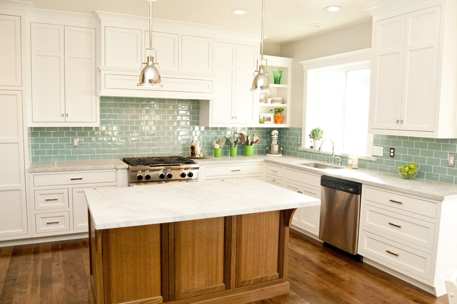 Subway tile green glass kitchen backsplash white cabinets charming