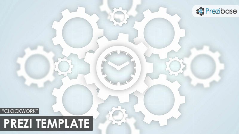 A Minimalistic Prezi Template With A Clockwork Concept White Cogs