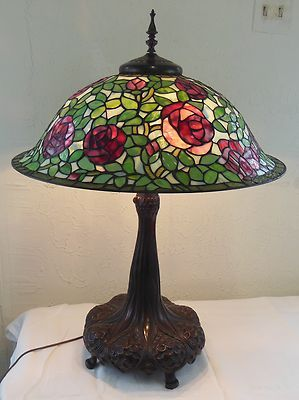 Vintage Dale Tiffany Brass Lamp With Rose Stained Glass