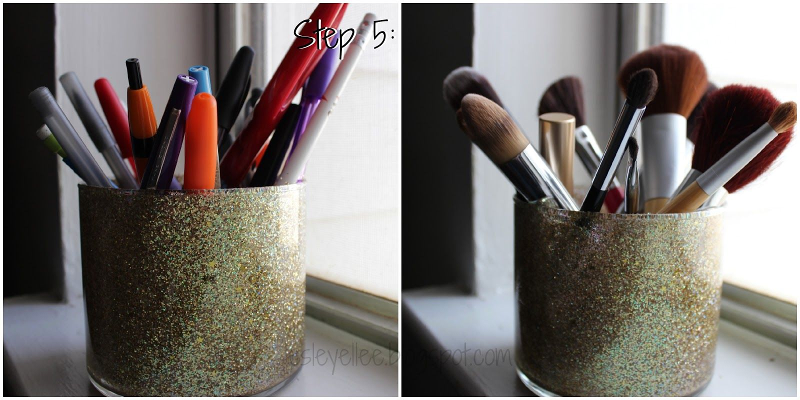 How to make glitter makeup brush holders from old burned ...