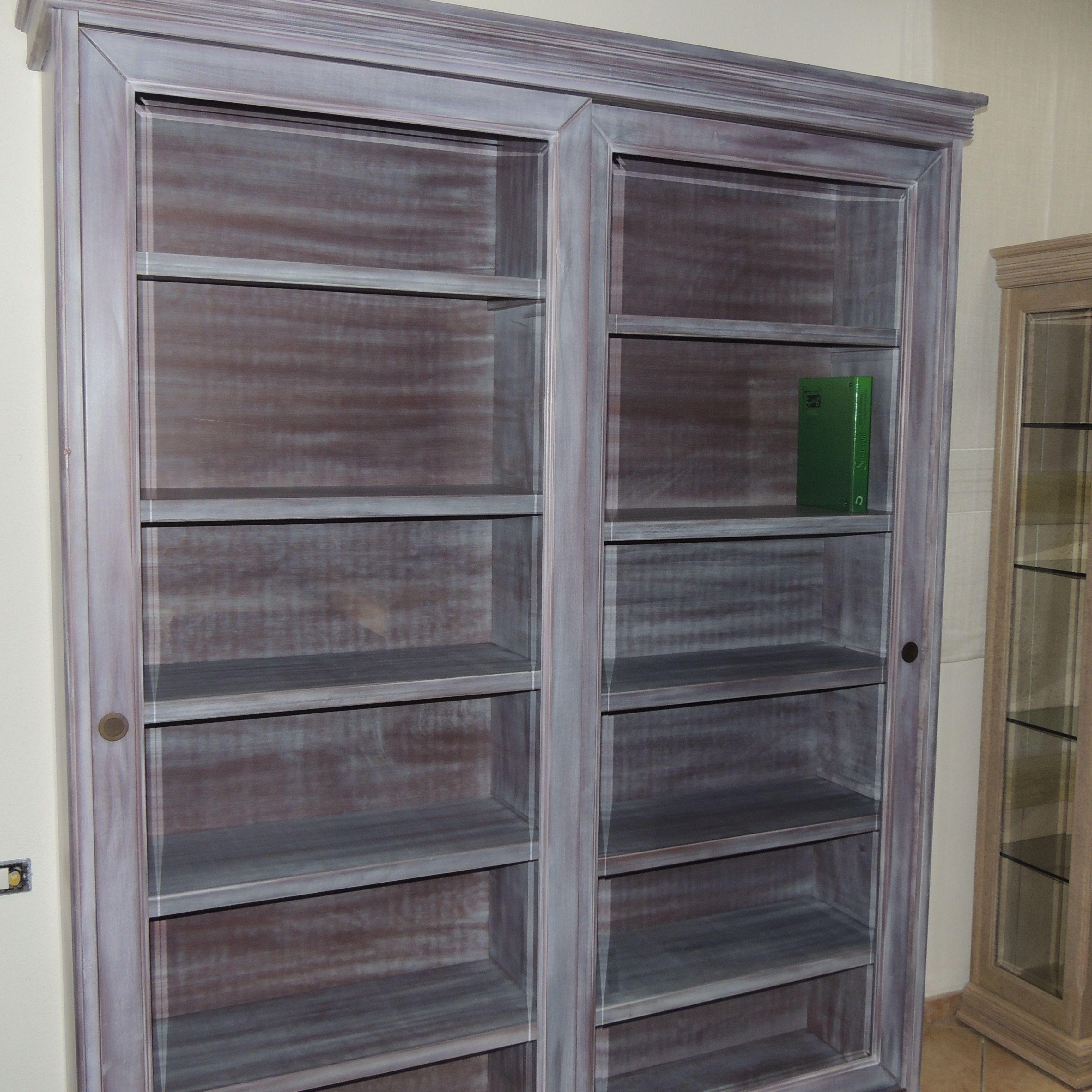 Mobile libreria 240x260 in listellare di legno massello - Libreria mobile ...