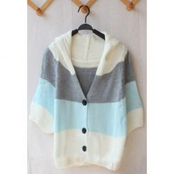 $7.39 Korean Fashion Color Block Short Sleeves Hooded Cardigan For ...