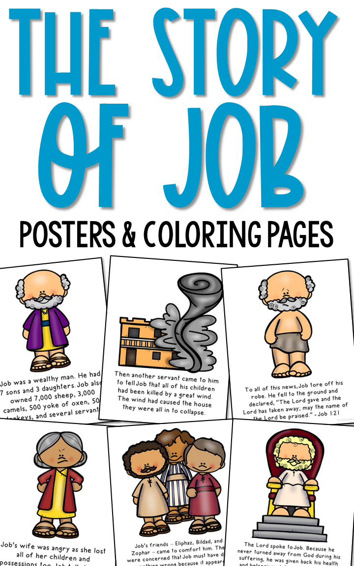 Job Bible Story Coloring Pages And Posters For Sunday School Lessons And Craft Activities Bible Stories For Kids Bible Study For Kids Job Bible
