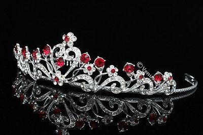 Red Floral Bridal Headpiece Rhinestone Crystal Prom Wedding Tiara V680