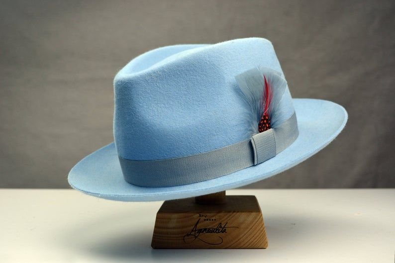 Fedora The Clubber Light Blue Fedora Hat For Men Mens Etsy In 2020 Fedora Hat Men Mens Fedora Fedora Hat