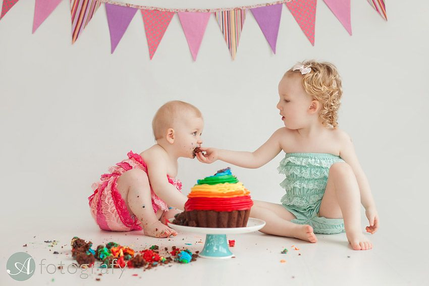 Cake Smash Photo Session With Baby And Her Sibling Sister - Childrens birthday party ideas edinburgh