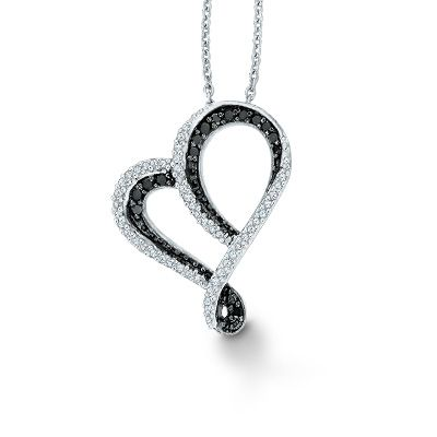Black white diamond heart pendant necklace hearts enhanced black and white diamond tilted heart pendant in sterling silver at gordons jewelers ct enhanced black and white diamond tilted heart pendant in mozeypictures Choice Image