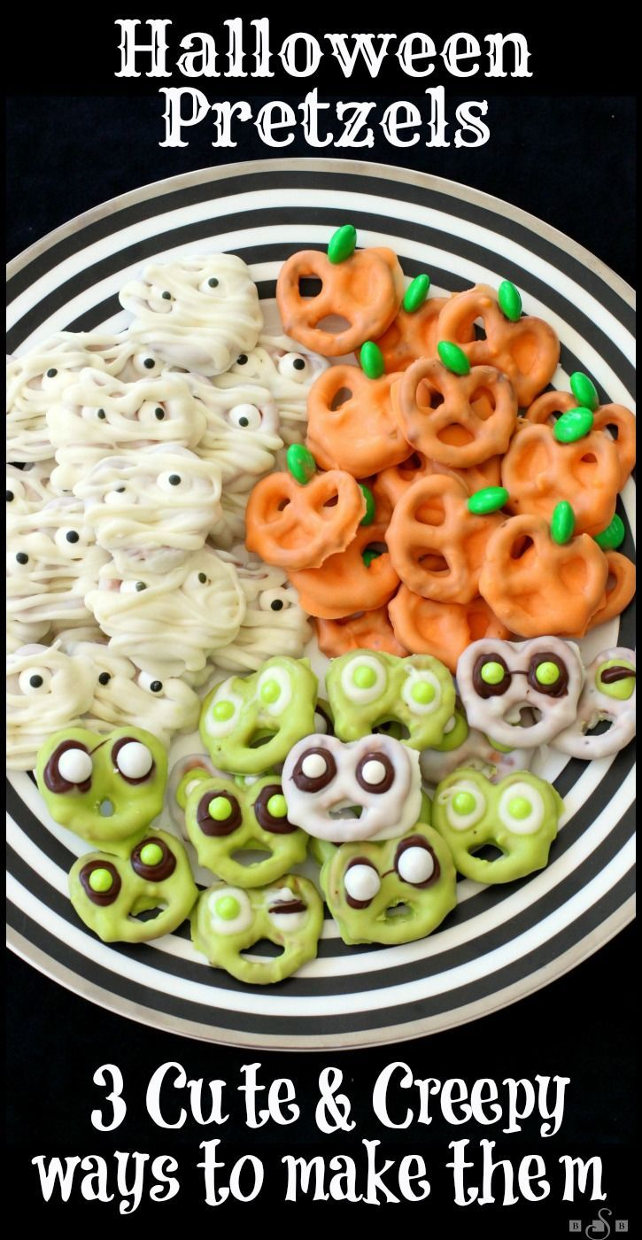 Halloween Pretzels: 3 Cute & Creepy Ways to Make Them, from Butter With A Side of Bread #halloweenfood