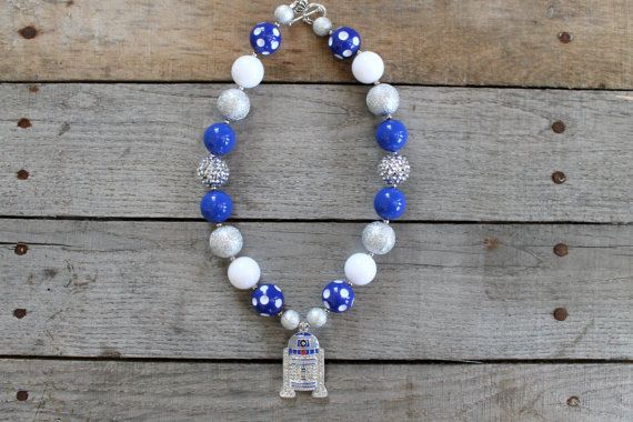READY TO SHIP Rhinestone R2D2 Star Wars Necklace by Stitched4Ewe