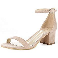 f21ac99438 Eunicer Women's Single Band Classic Chunky Block Low Heel Sandals with Ankle  Strap Dress Shoes,Nude Suede,10.5 B(M) US