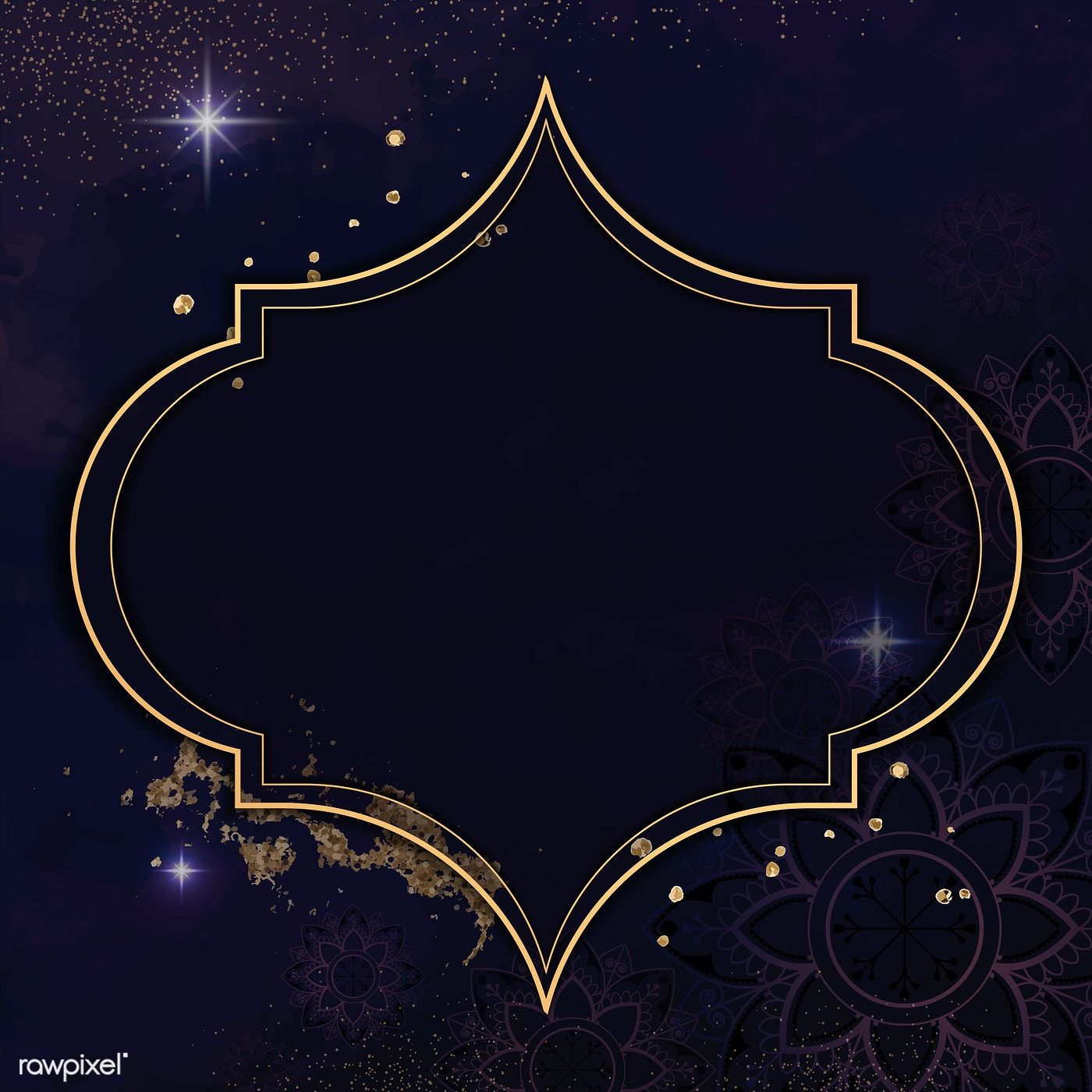 Download premium vector of Gold frame on Diwali pattern