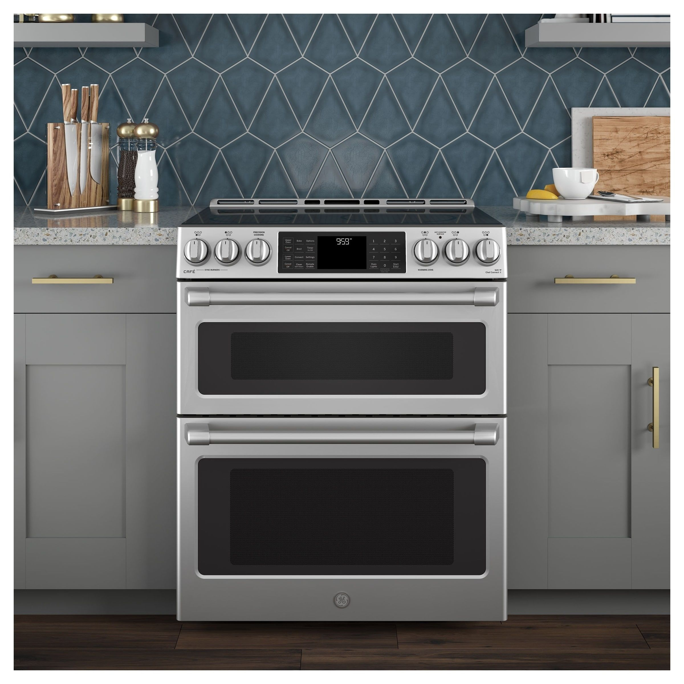 Ge Cafe Series 30 Slide In Front Control Induction And Convection Double Oven Range Gas Range Double Oven Double Oven Range Double Oven