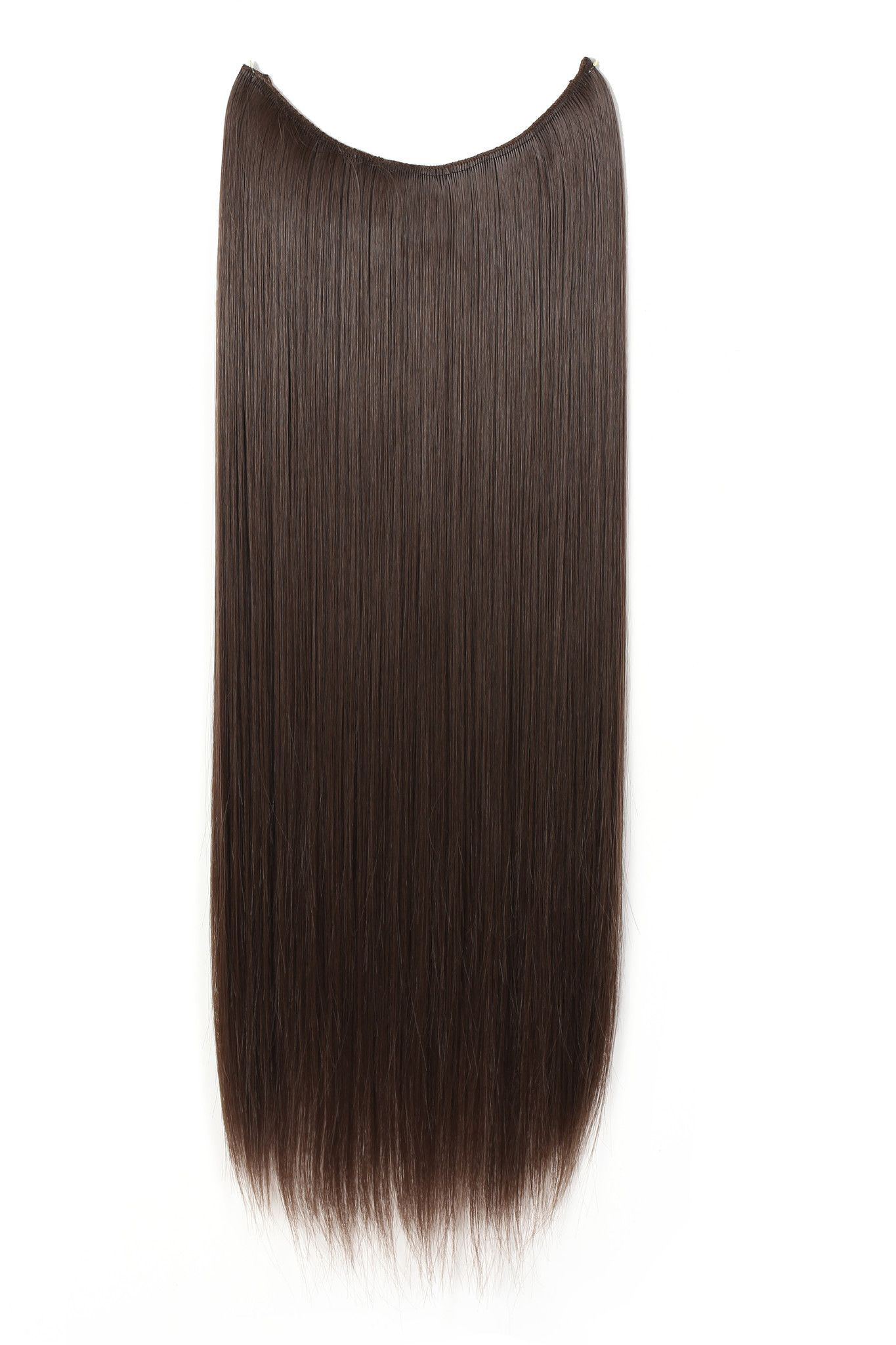 24 Straight Synthetic Hair Extensions Transparent Wire No Clips