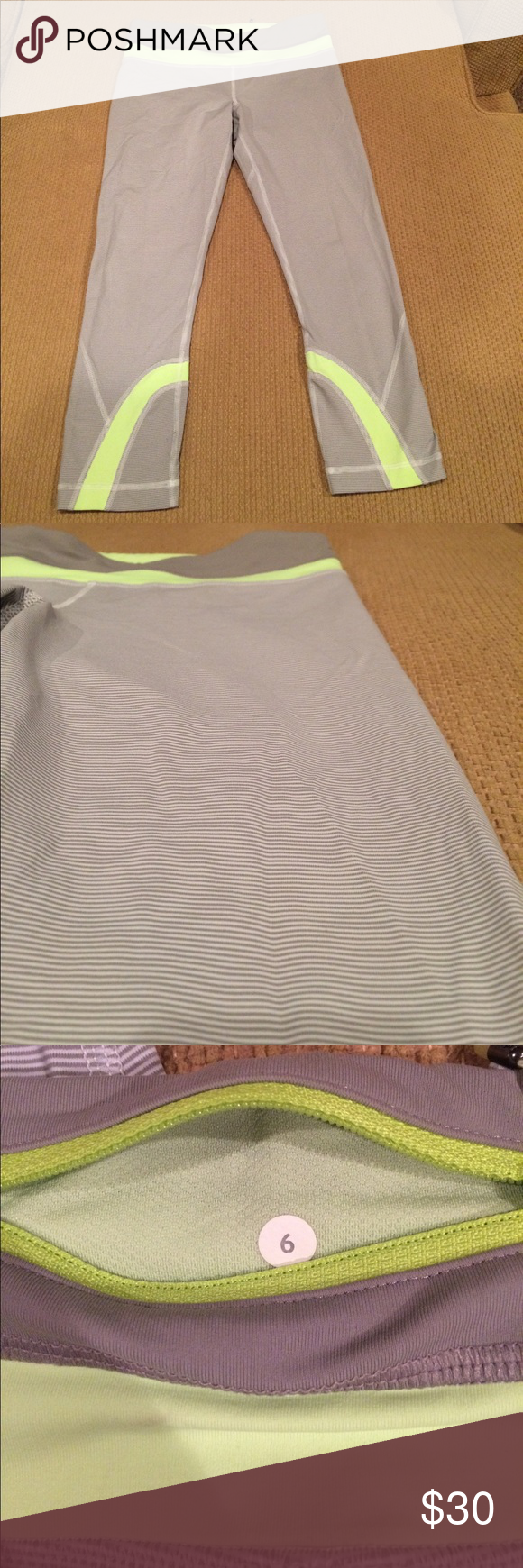 Lululemon Running Crops Excellent condition! Striped. Super cute!!! lululemon athletica Pants Ankle & Cropped