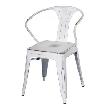 Tolix metal arm chair distressed white