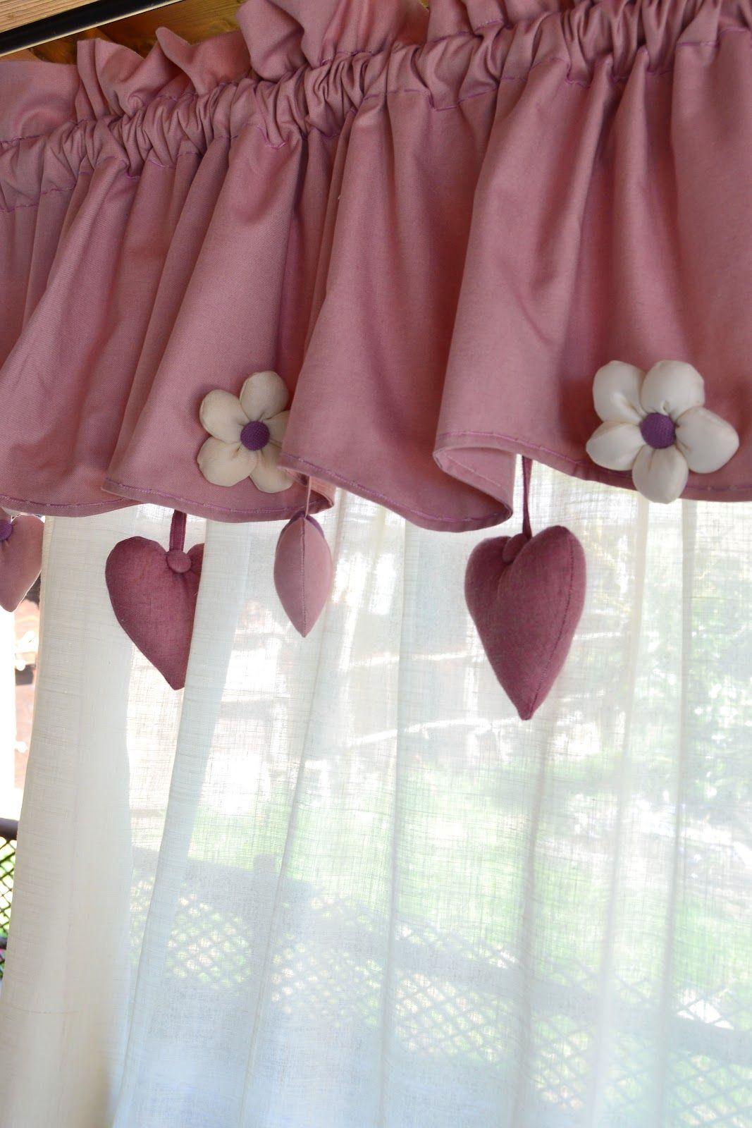 tende country provenzali in cotone e misto lino panna e rosato ...