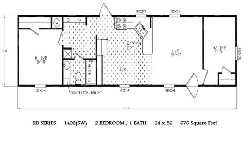 single wide mobile home floor plans 14 x 52 - Sw Small House Plans