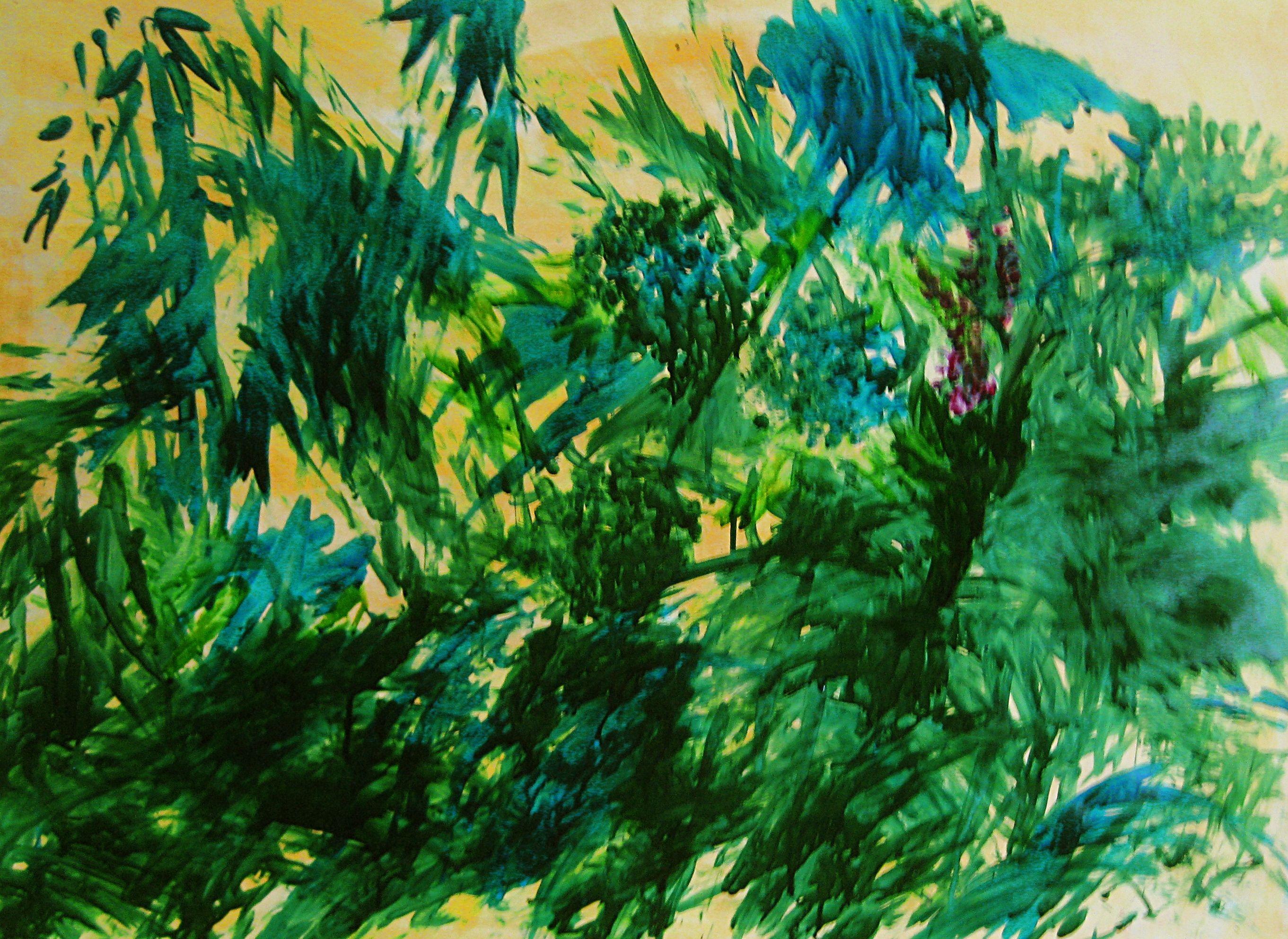 Du Bout Des Doigts, Mes Traînées D'encre Bleuissent. Ecolines. 47X70 cm. 2011.