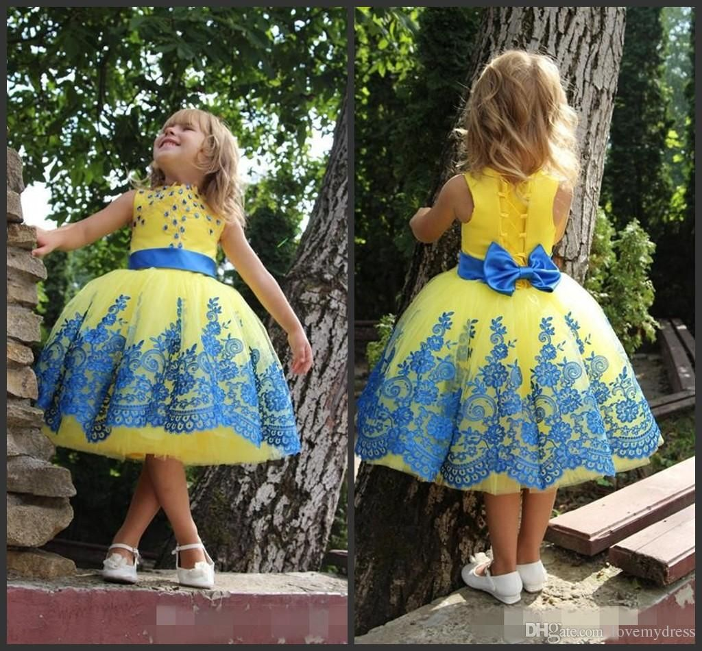 Kids Formal Wear Ball Gown Jewel Neck Sleeveless Applique Crystal ...