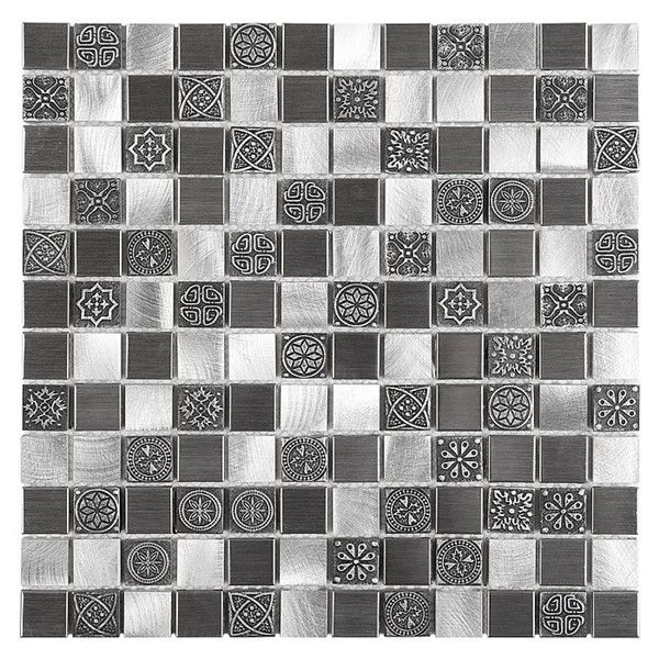 Mozaika Allumi Grey Mix 23 Plaster 30x30 Metal Grey Plaster