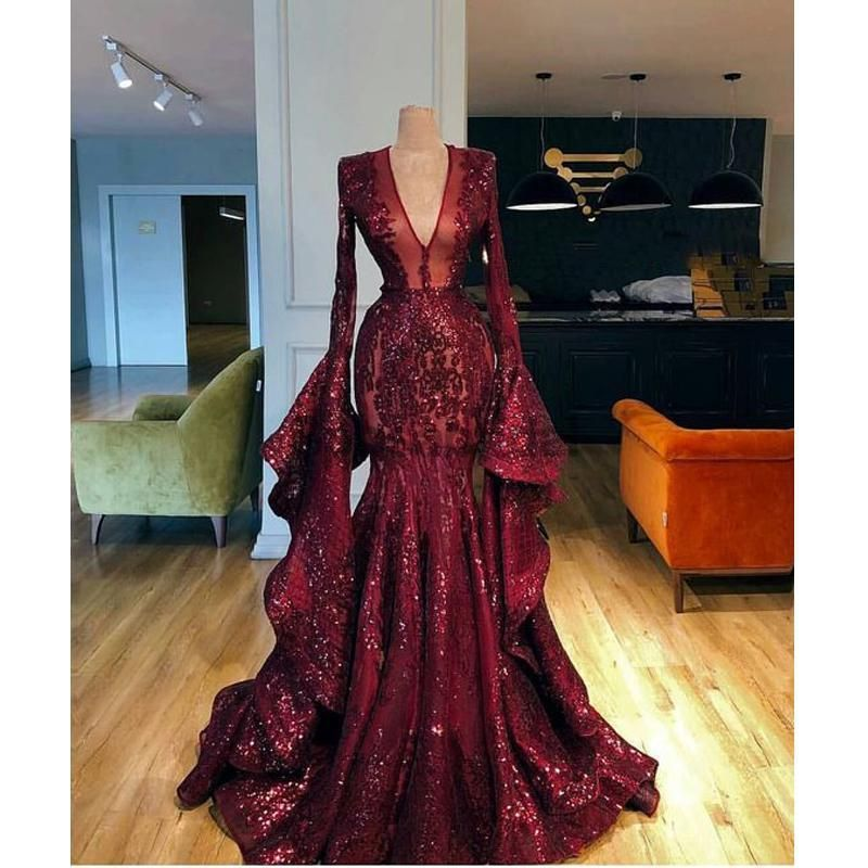 Burgundy Long Sleeves Shining V Neck Unique Design Elegant Mermaid  Long Prom Dresses  PD1445