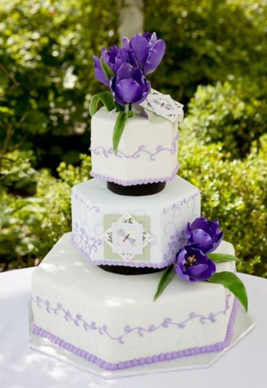 Purple Tulip Wedding cakes, Wedding cake toppers