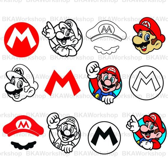 Super Mario Svg Super Mario Stencil Supermario Logo Head Hat Digital Clipart For Design Or Mor Super Mario Hat Vinyl Ornaments Screen Printing