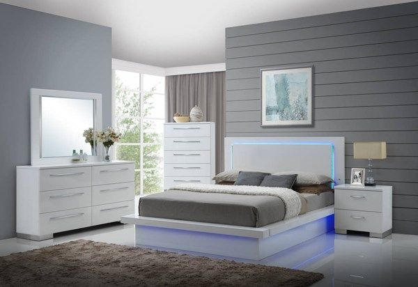 Sapphire High Gloss White Lighted Headboard King Platform Bed Modern Bedroom Set Bedroom Sets Queen Platform Bedroom Sets