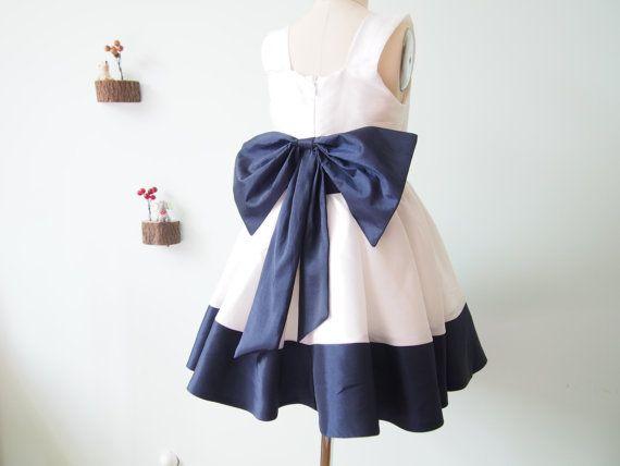 Ivory and navy blue taffeta flower girl dress with big by vvlove ivory and navy blue taffeta flower girl dress with big by vvlove mightylinksfo