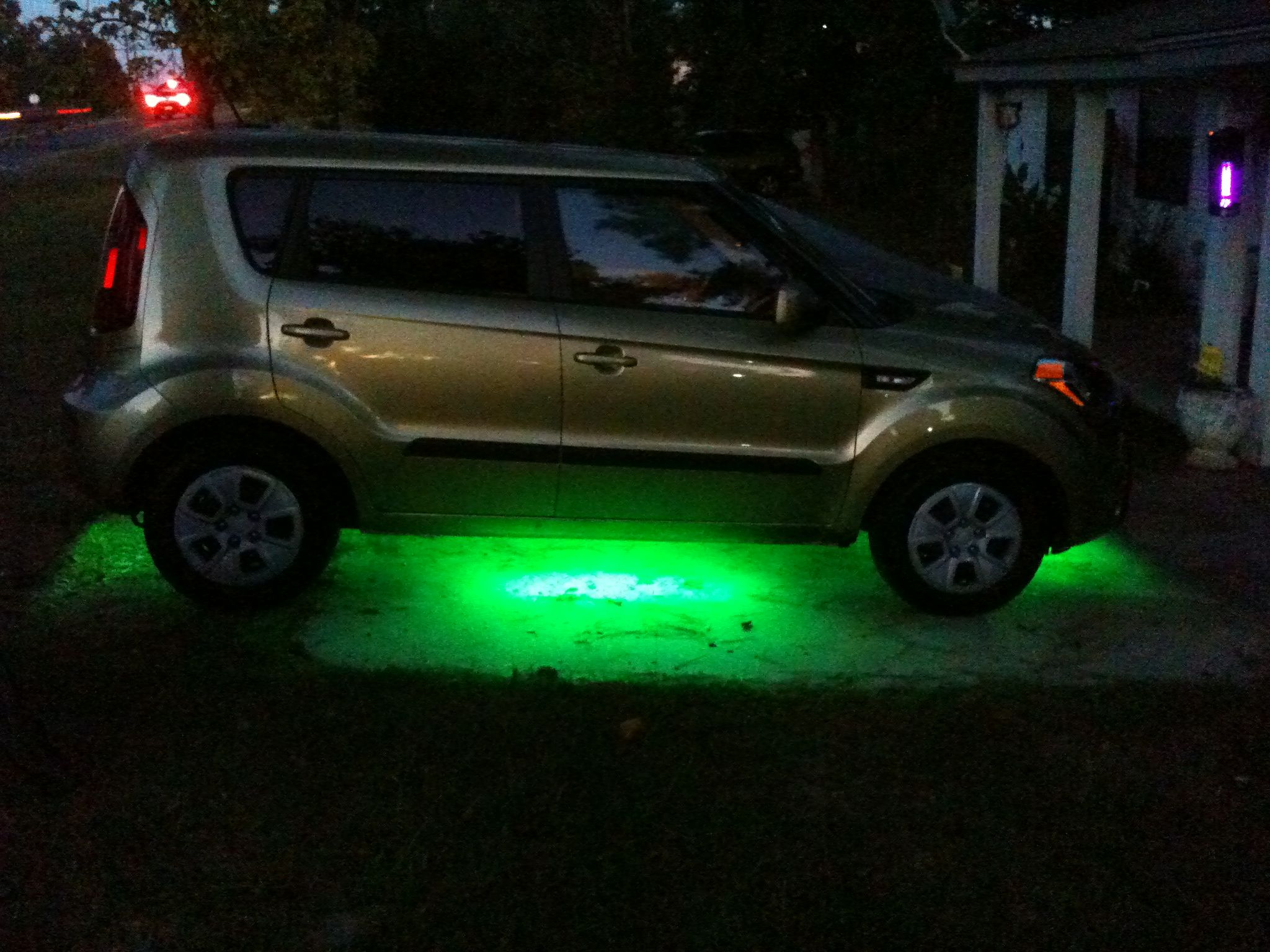 My wife s new 2013 Kia Soul with her neon lights that I installed