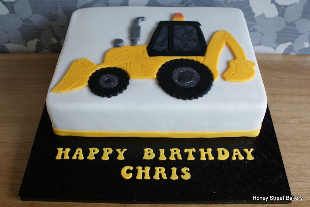 Digger jcb excavator birthday cake honey street bakery for Digger cake template