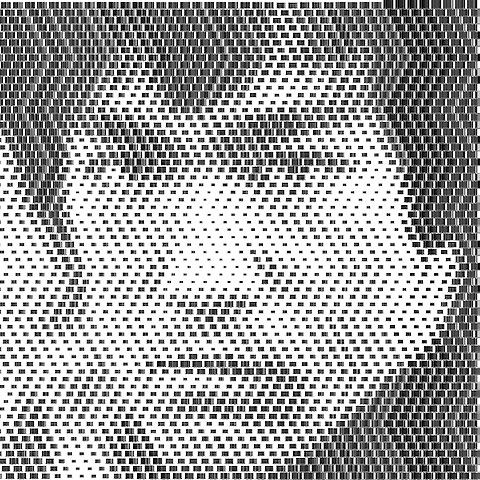 Portraits of pop icons made from barcodes by Scott Blake